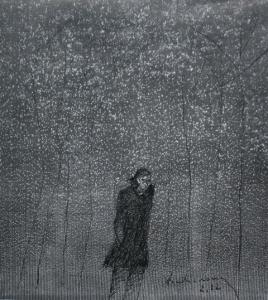 Người đi trong tuyết - Đinh Cường (Mực đen trên giấy báo 12 x 12 in)