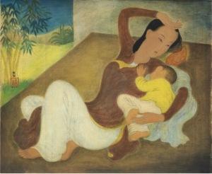 Mẹ và em bé Mai Thứ