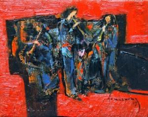 Hợp tấu kèn đồng - Đinh Cường(sơn dầu trên canvas 16 x 20 in)